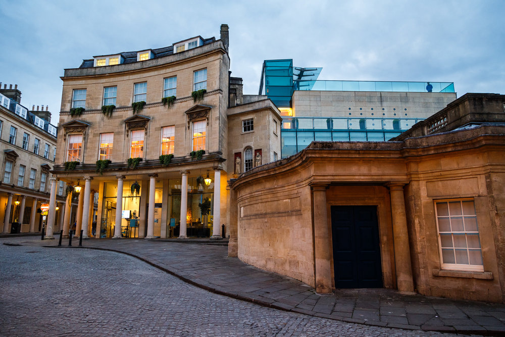 …and around the corner was the  Thermae Bath Spa . To round off our stay we treated ourselves to a few hours in this spa which had a few different floors of experiences, the top floor (pictured top-right) had an open-roof heated pool!