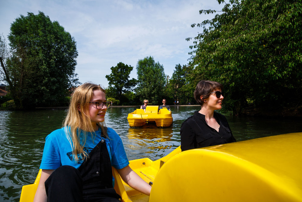 …and riding pedal boats with family.