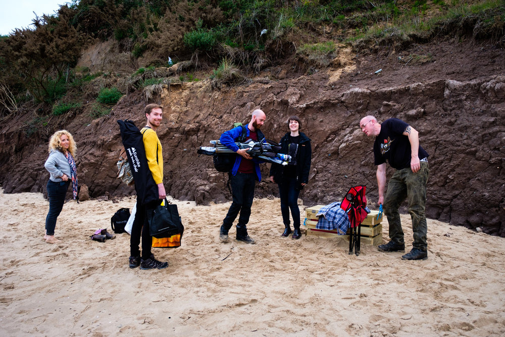 Arriving at Lligwy beach (from left-to-right: Angie, Jack, Keiron, Hannah and Gin).
