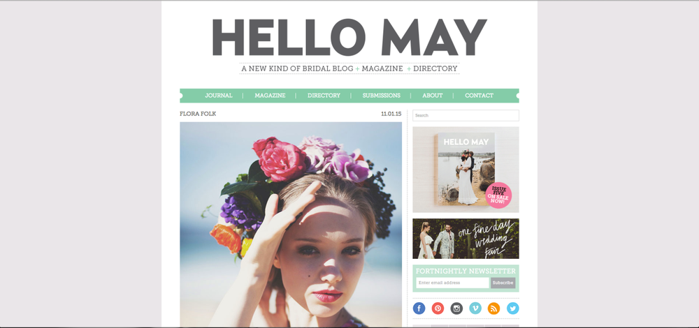 Flora Folk's colourful blooms and headpiece was just featured on Hello May magazine's blog. Read my take on breaking conventions for your wedding with colour!  Read Post
