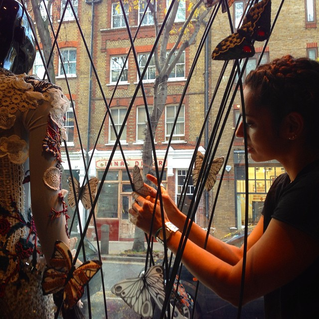Emma @imakefings of #emgcrew installing our #butterfly #window @thehospitalclub #sustainability week #dontletbeautygotowaste