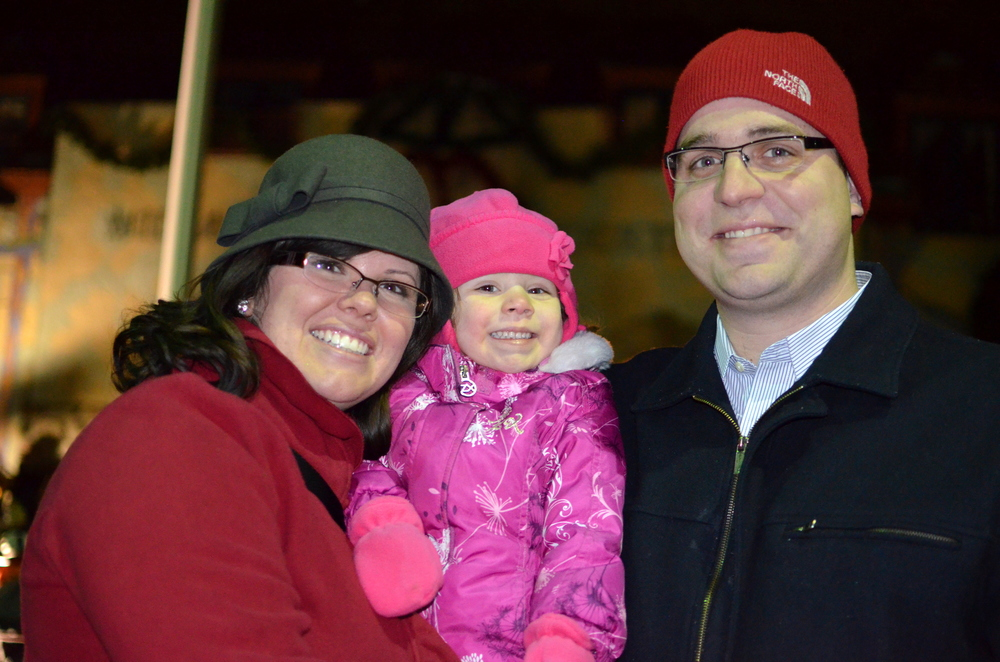 A Midland family enjoys the 2012 Courthouse Lighting Ceremony in downtown Midland