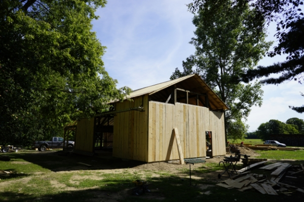The Chippewa Nature Center Timber Frame Barn project under construction in early August, 2015