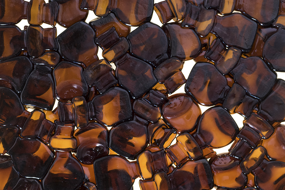 Amber Bottle Tiles Back Close-up
