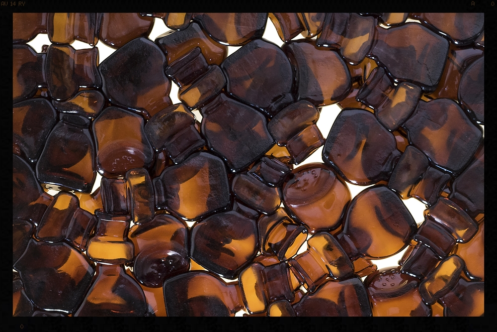 Amber Glass Bottle Tiles Back
