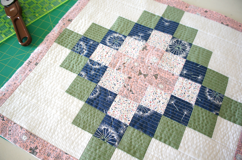 Patchwork pillow top made with Sketchbook fabrics and Pure Element solid from Art Gallery Fabrics