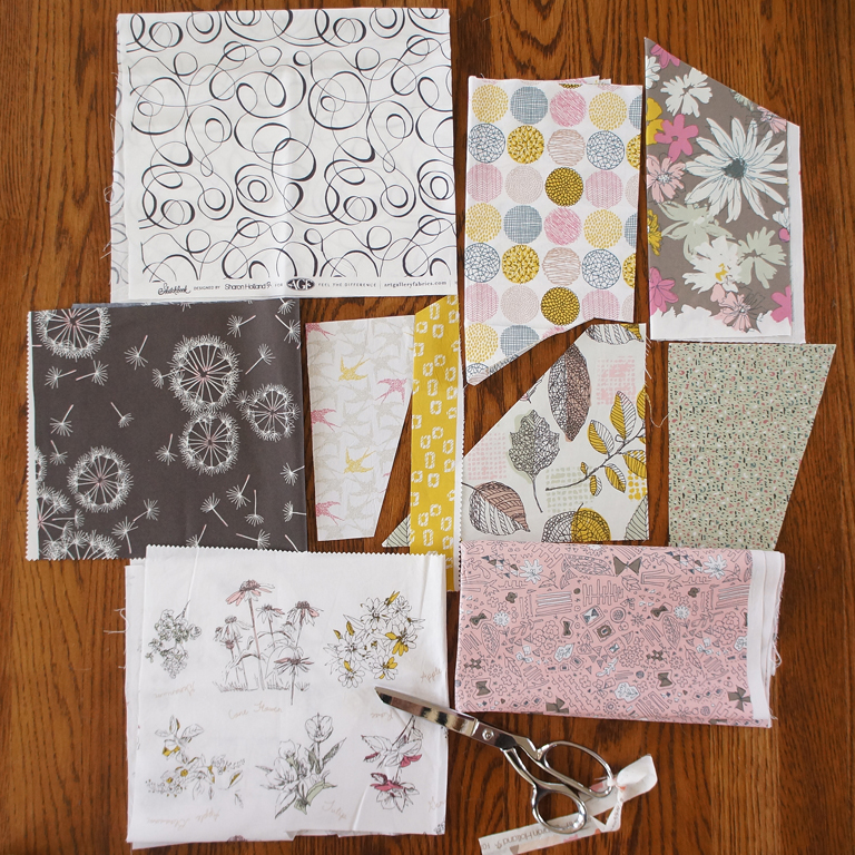 Sketchbook fabrics by Sharon Holland in the Plein Air color way