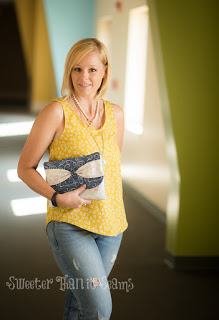 Sketchbook blog tour blogger Kara Orr modeling date night outfit and clutch project