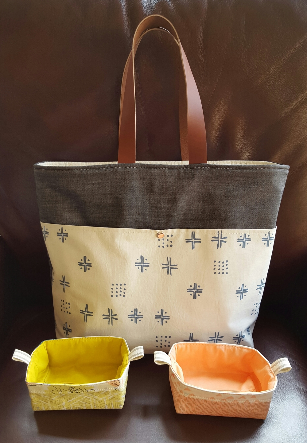Bag and baskets made by Heidi Staples of Fabricmutt