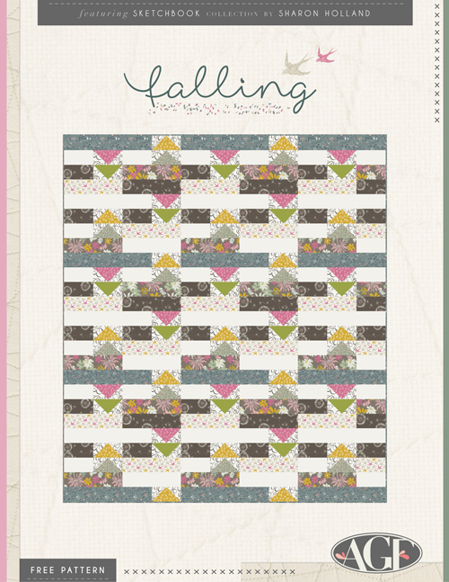 Falling free pattern by Sharon Holland for AGF using Sketchbook fabrics