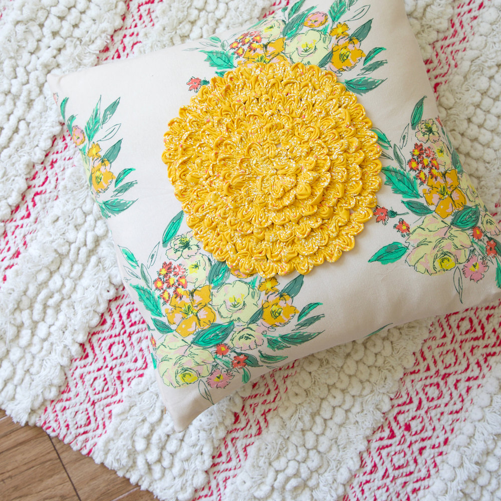 Ruching Rose Pillow