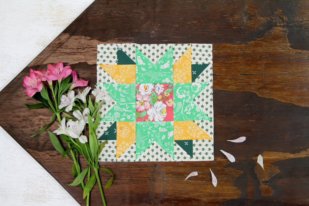 Sunflower block featuring Signature fabrics from the AGF Quilt Block Collection
