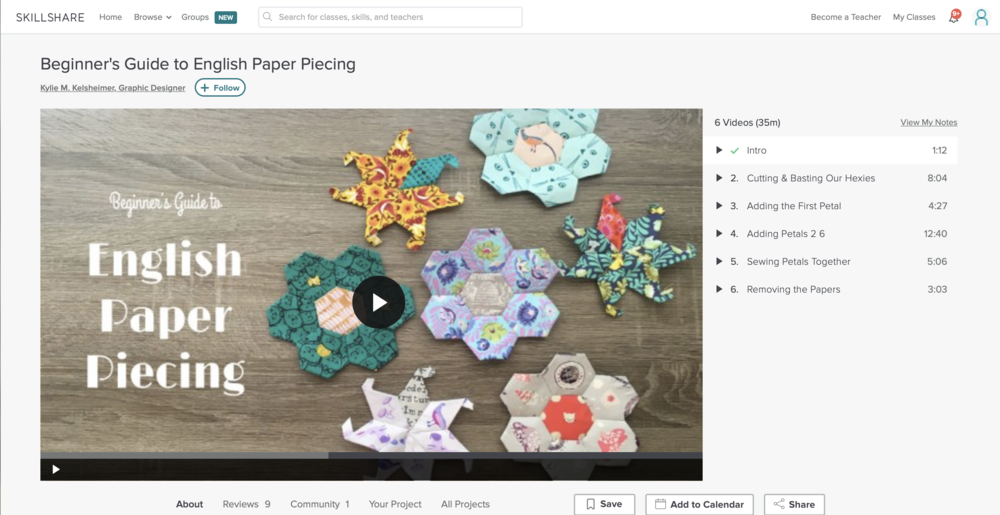 Beginner's Guide to English Paper Piecing with Kylie M. Kelsheimer