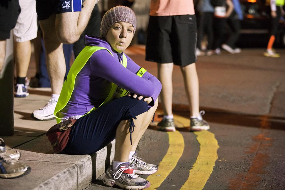 Life Style Sports Run in the dark for Mark Pollock. Finish line at run in Dublin, November 2012