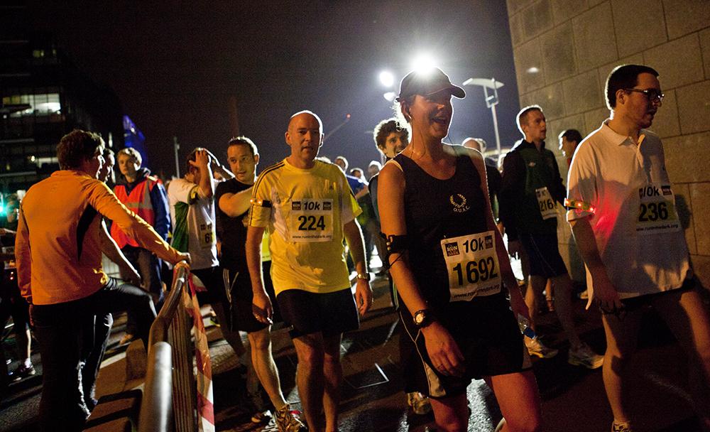 Life Style Sports Run in the dark for Mark Pollock. Start line run in Dublin, November 2012