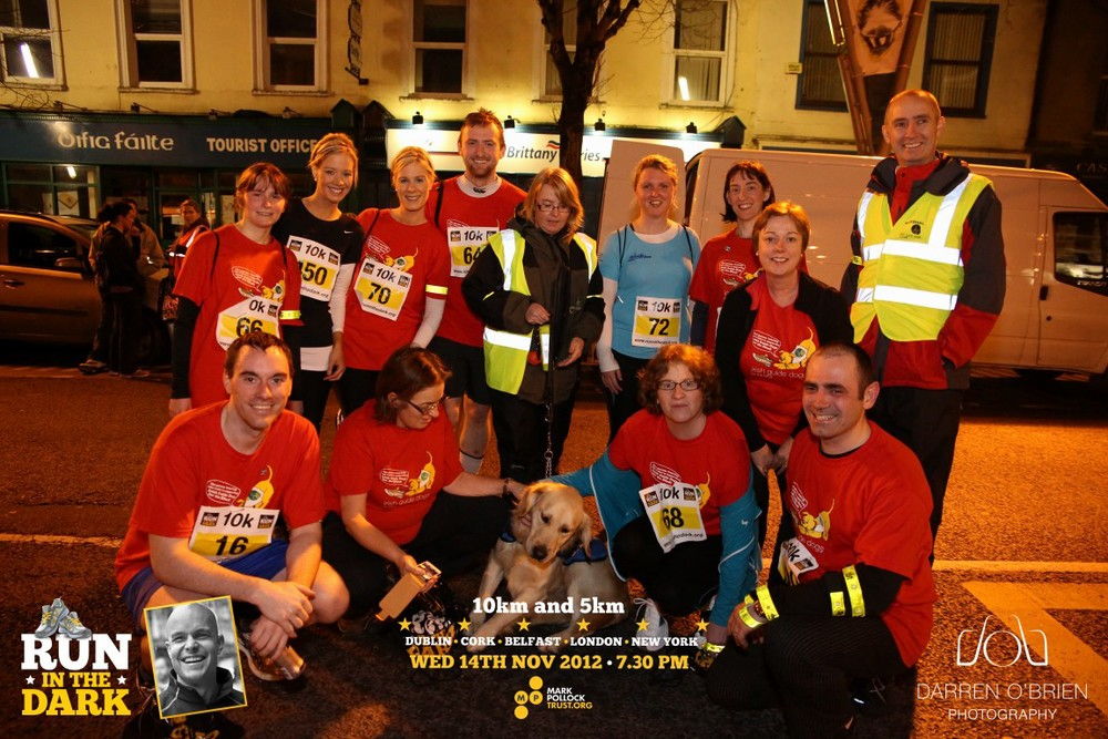 Run in the Dark Cork November 2012. The aim of the run in Cork is to raise funds for the Mark Pollock Trust and connect people worldwide to fast-track a cure for paralysis.