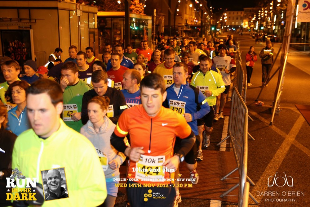 Run in the Dark Cork November 2012. The aim of the run in Cork is to raise funds for the Mark Pollock Trust to fast-track a cure for paralysis. Event created by Piers White.