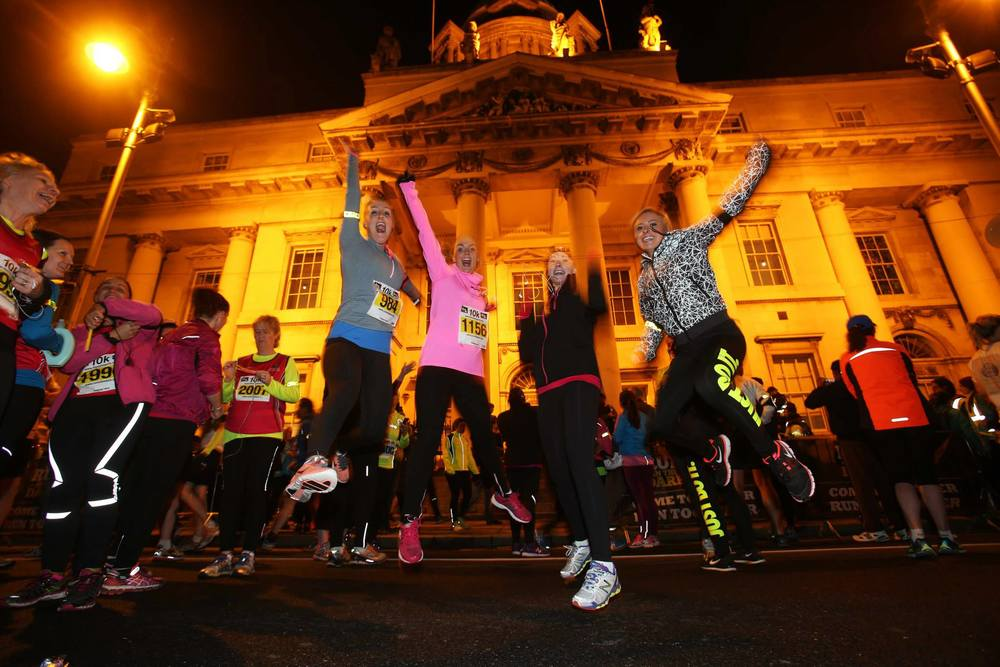 """Mark Pollock Trust supporters and fitness fanatics at the start line of the Life Style Sports """"Run in the Dark Series"""" 2014 with some of the 7500 runners that took part in the Dublin run."""