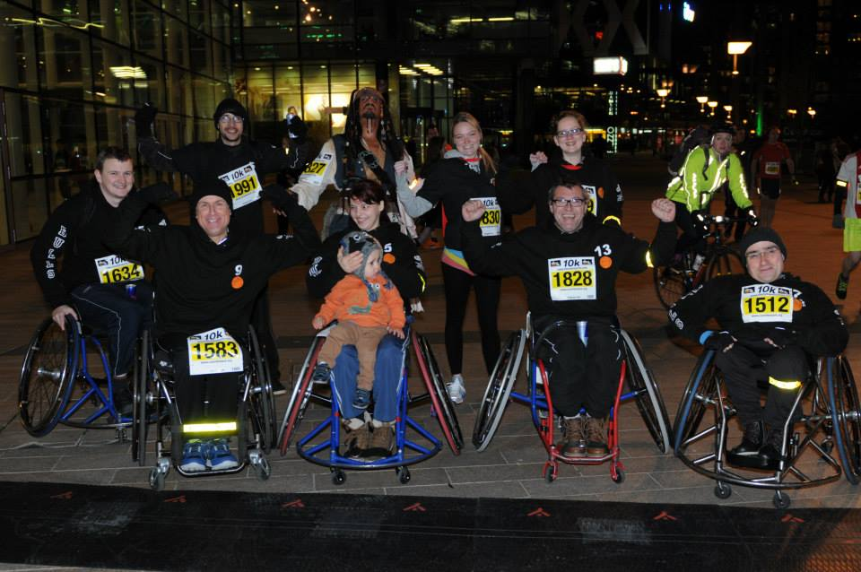 Supporters Run in Manchester for Mark Pollock   Run Manchester Media City 2014   Run in the dark Manchester 2014   Run for mark   Created by Piers White   runinthedark.org