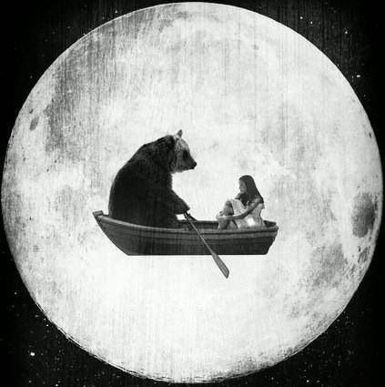 Bear and girl in a boat on the moon