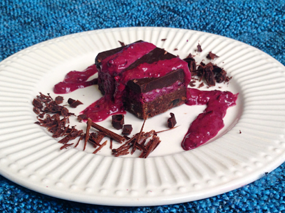 Raw Vegan Triple Layer Raspberry Brownie