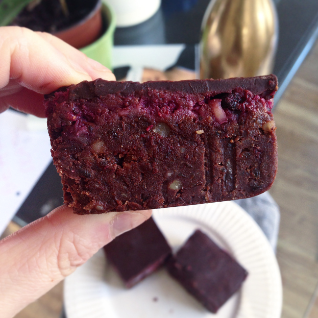 Raw Vegan Triple Layer Raspberry Brownies