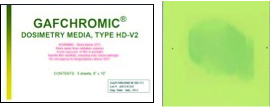 "Gafchromic HD-V2     HD-V2 film measures absorbed dose of photons >1keV, electrons >5keV, protons, ions and neutrons, over a dose range of 10Gy to >1,000Gy. Spatial resolution is 10,000 dpi. Available in size 8""x10"" with 5 sheets per box."