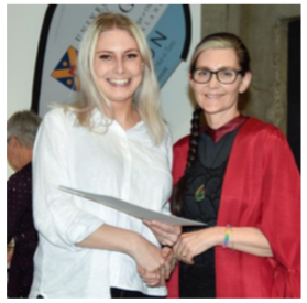 Paige presented the award by Professor Sunny Collings, Dean & Head of Campus at University of Otago, Wellington.