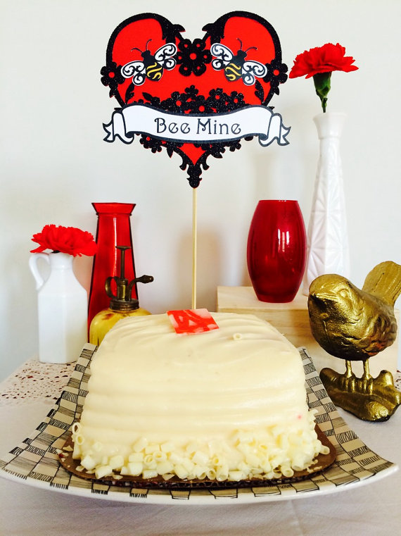 Bee Mine Floral Cake Topper