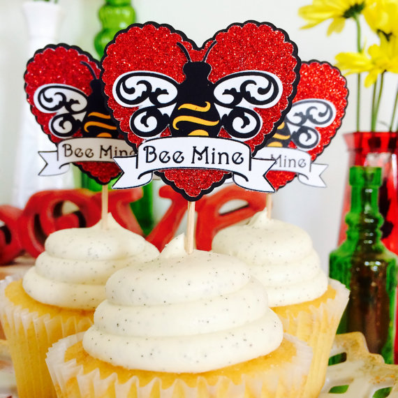 Bee Mine Cupcake Topper