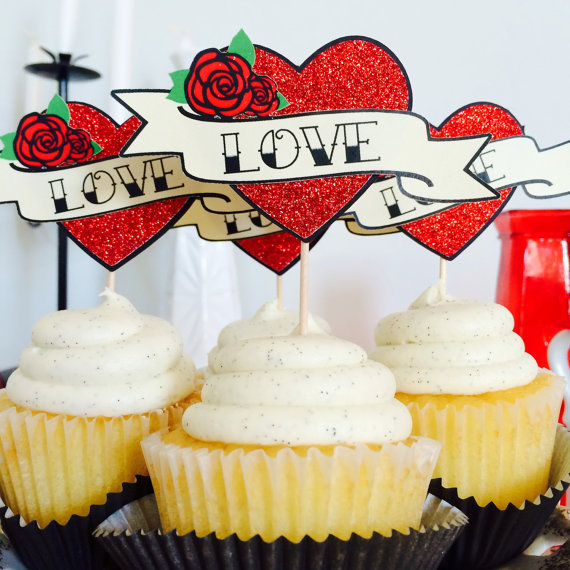 Love Tattoo Cupcake Topper