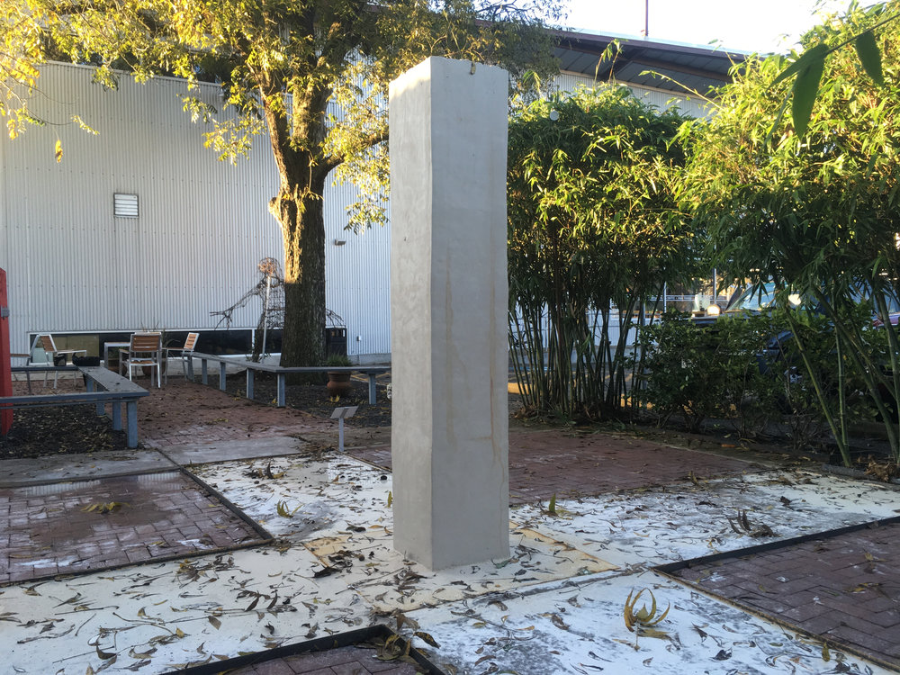 Trey Duvall Loschmidt's Column (in process), 2016 Unfired Porcelain Clay, Steel 7'x22'x22'