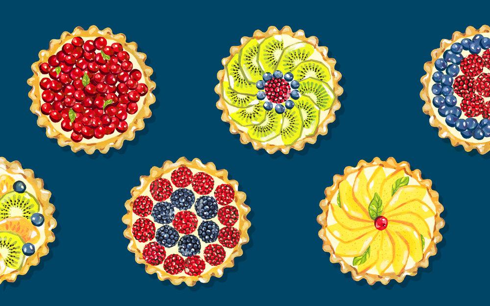 Andrea Gonzalez illustration F is for Fruit Tartlets