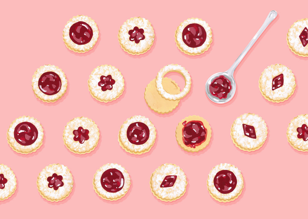 Andrea Gonzalez illustration J is for Jam-filled cookies