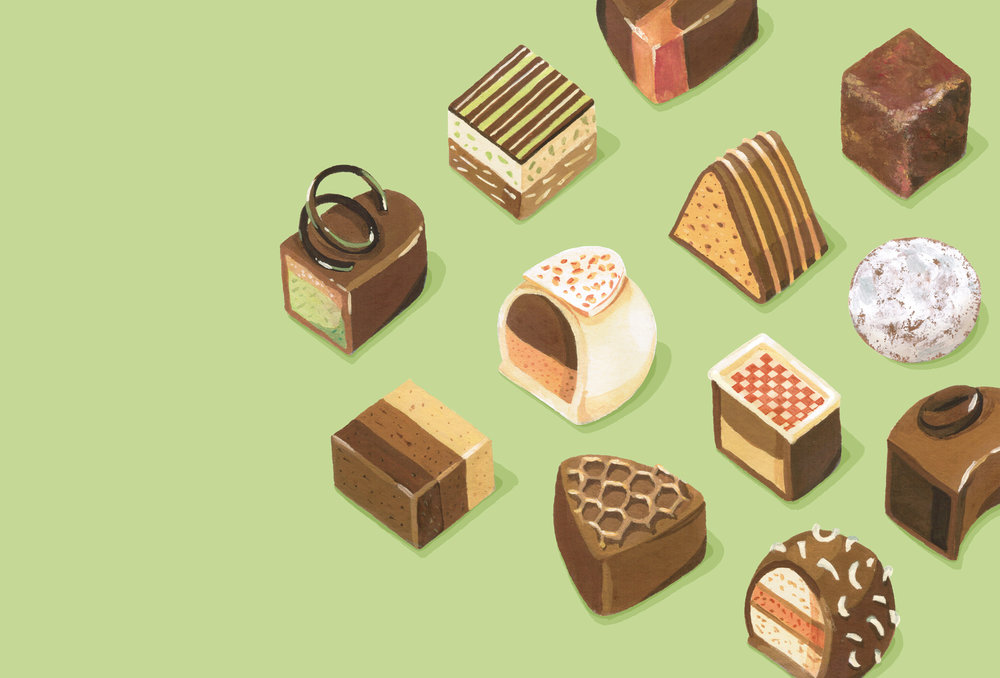 Andrea Gonzalez illustration C is for Chocolate Bonbons