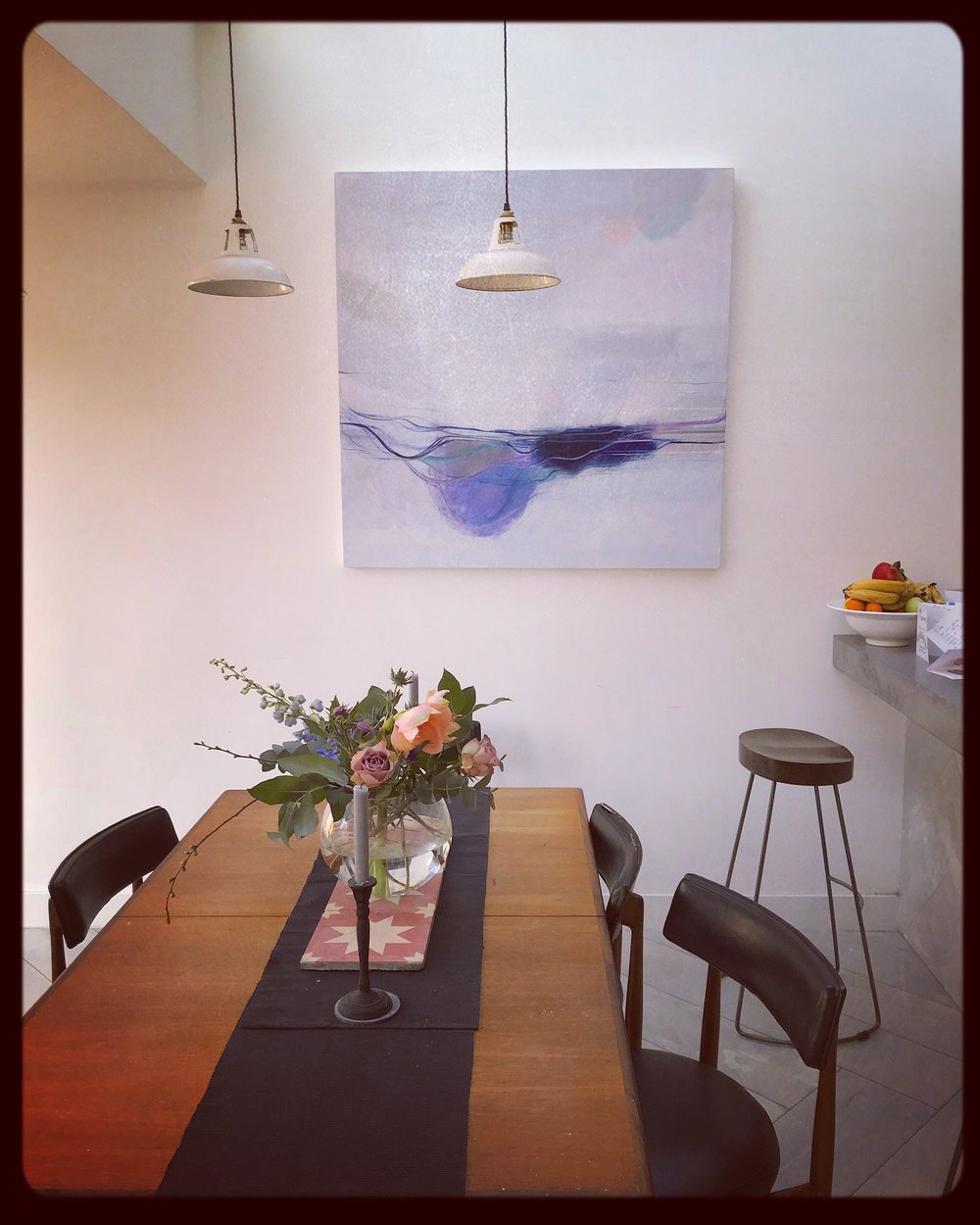 """It is gorgeous the way we can see different colours in the painting as the light changes throughout the day. We love it""    ""Head in the Clouds"" bespoke commission installed in client's home in London. The couple who bought it visited my studio, and then selected a piece I had started working on. We then developed it together, with me sending photos and updates, and getting their feedback. They were dream clients to work with. They were endlessly positive, and were great to collaborate with. They were able to say what elements they liked, and wanted developing. It was a lovely project."