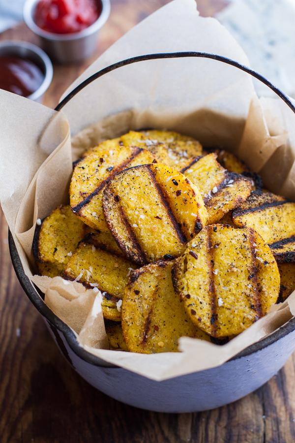 Grilled parmesanpolenta chips via Half Baked Harvest