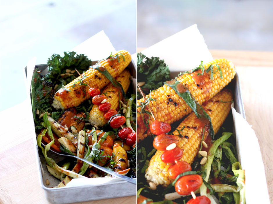 Grilled summer vegetables with roasted tomato vinaigrette via the First Mess