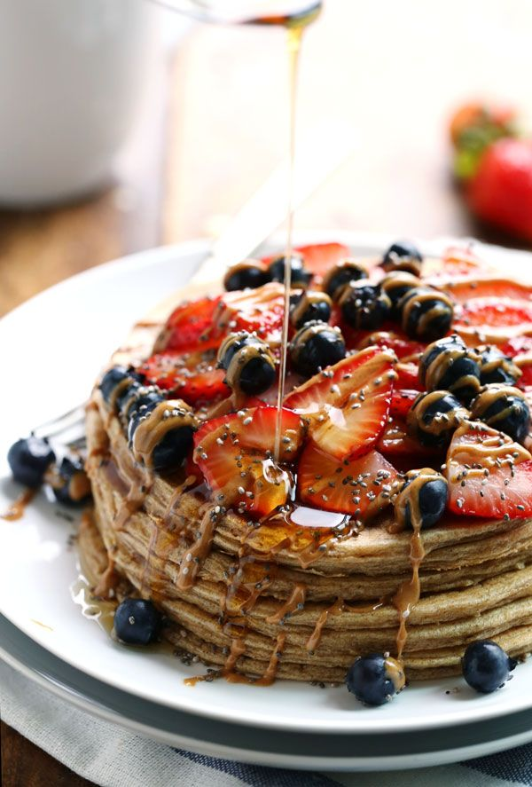 Cinnamon whole grain power pancakes via Pinch of Yum