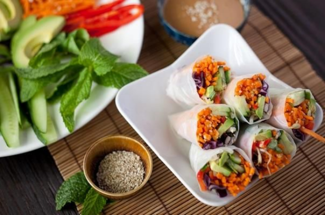 Vegan Salad Rolls -  Via Just Kale Me Now