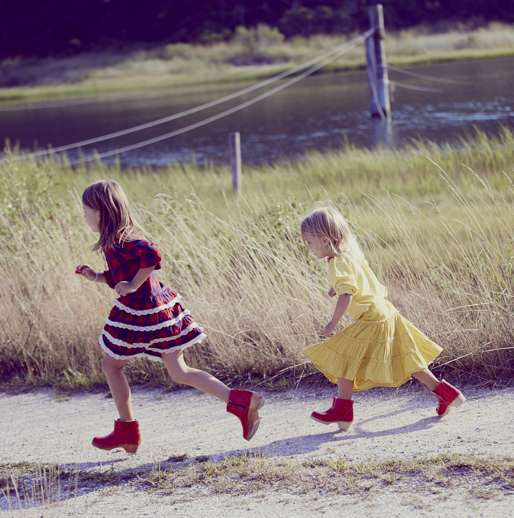 Buffalo Check Dress ;  Twirly Cord Skirt ;  Swedish Clog Boots  by Hanna Andersson