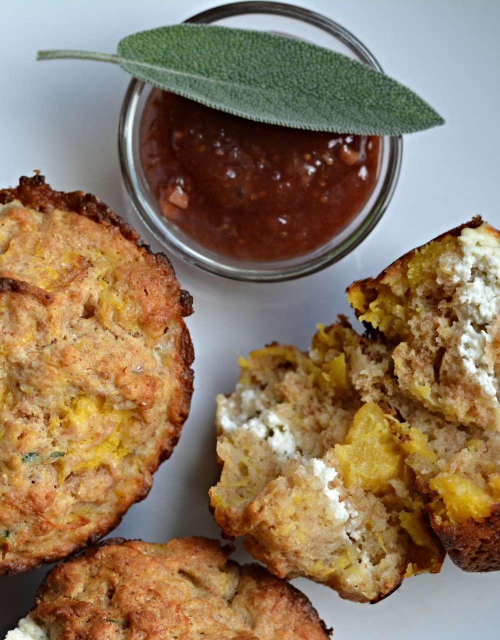 acorn squash and goat's cheese muffins with spiced fig  jam