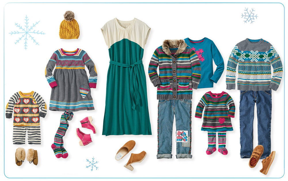Cozy Up Family Collection by Hanna Andersson; Anna Colorblock dress by Love, Hanna; Swedish Modern Clog