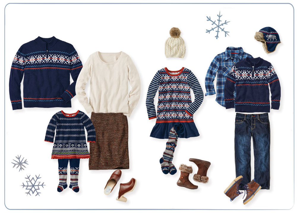 Norse Star Fair Isle Family Collection by Hanna Andersson; Thermal Henley and Perfect Shape Sweater Skirt by Love, Hanna; Swedish Modern Clog