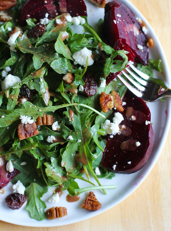 Roasted Beet and Arugula Salad with Maple Basalmic Vinaigrette | My New Roots