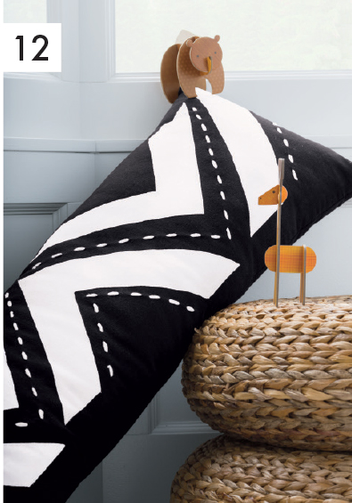 Black + White Lumbar Pillow $49