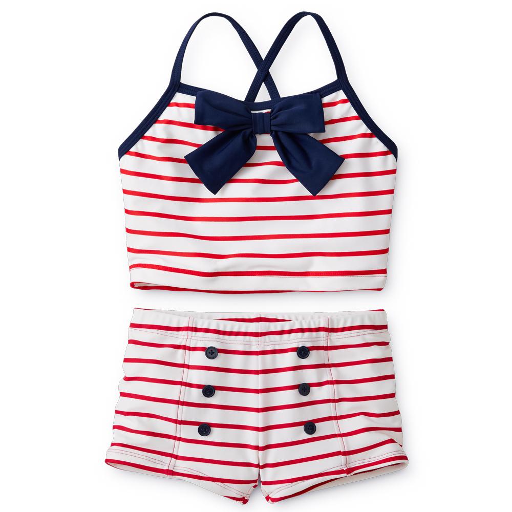 Girls Red Stripe Swim with Blue Bow