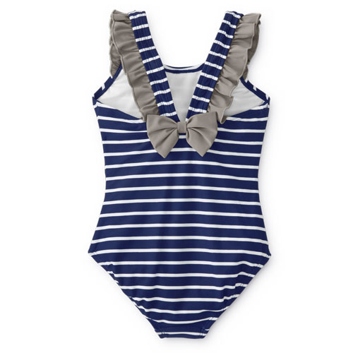 Girls blue stripe one piece swimsuit - Hanna Andersson