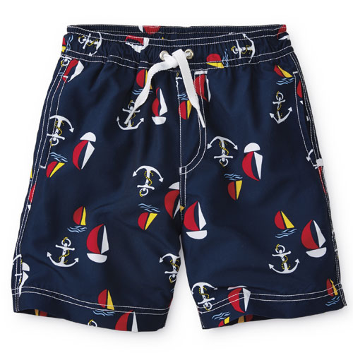Boys sailboat print swim trunks
