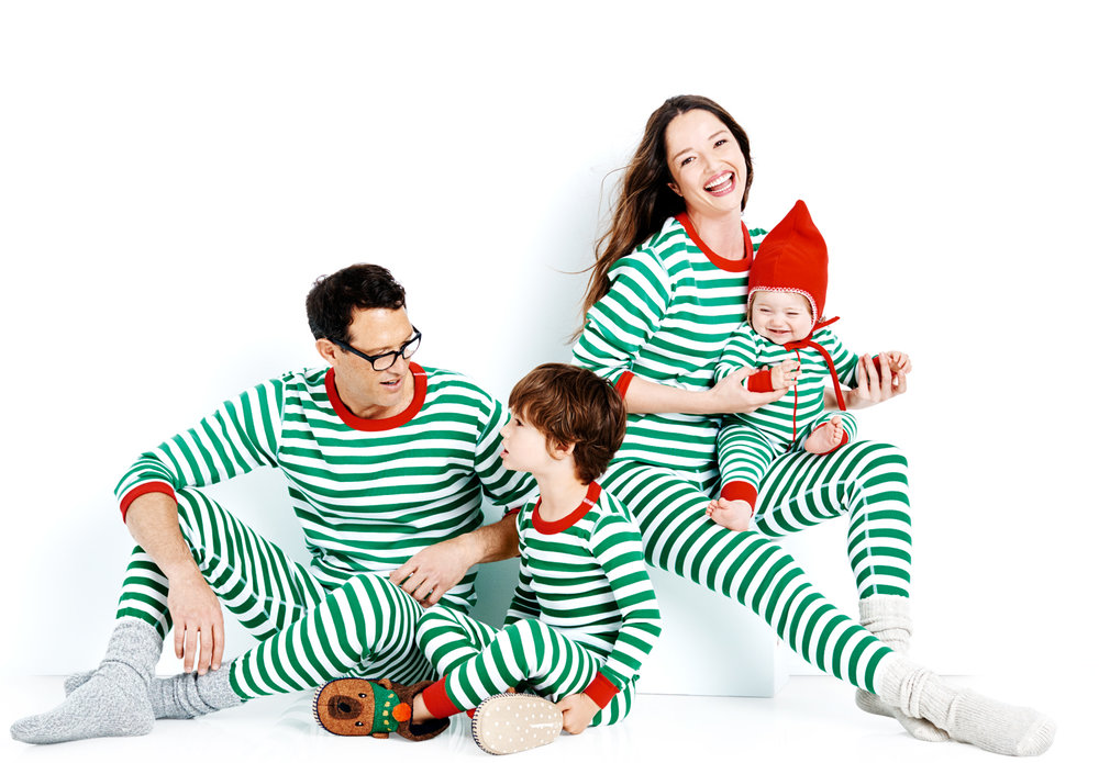 Green and White Striped Family Holiday Pajamas